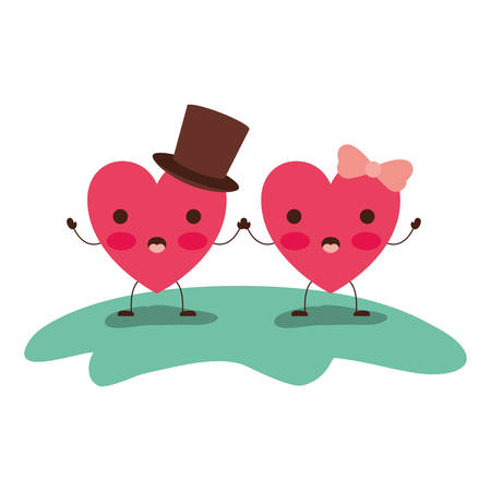 couple heart character kawaii holding hands and him with top hat and her with topknot in surprised expression in colorful silhouette vector illustration