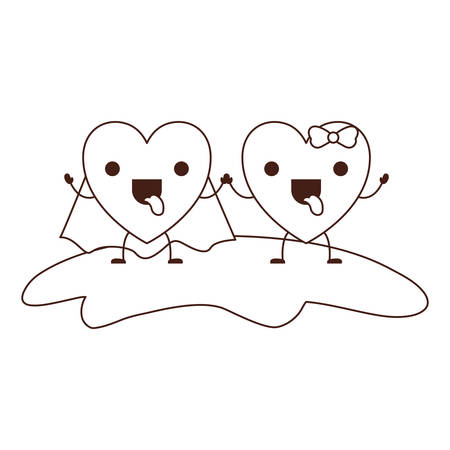 couple heart character holding hands and him with coat and her with topknot in funny expression in brown contour vector illustration