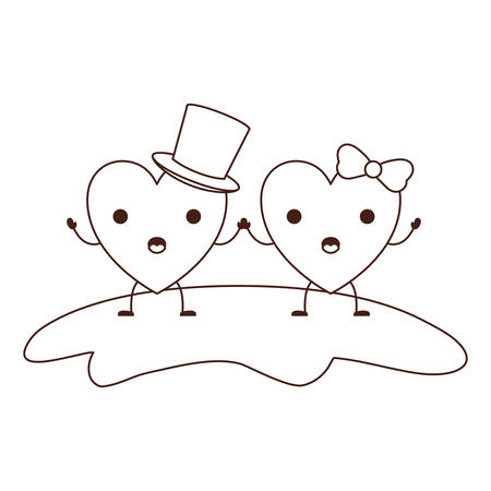 couple heart character holding hands and him with top hat and her with topknot in surprised expression in brown contour vector illustration