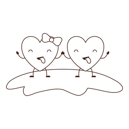 couple heart character holding hands and closed eyes and her with topknot in funny expression in brown contour vector illustration Illustration