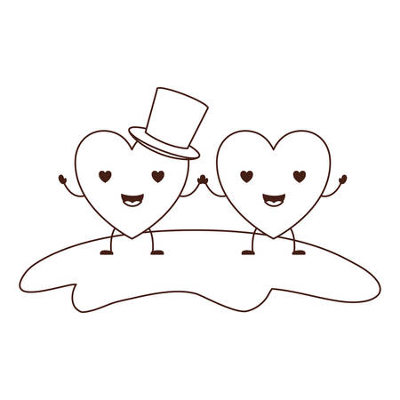 couple heart character  holding hands and him with top hat in enamored expression in brown contour vector illustration Иллюстрация