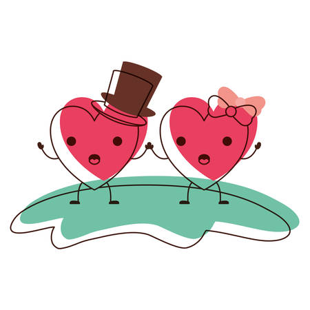 couple heart character holding hands and him with top hat and her with topknot in surprised expression in watercolor silhouette vector illustration