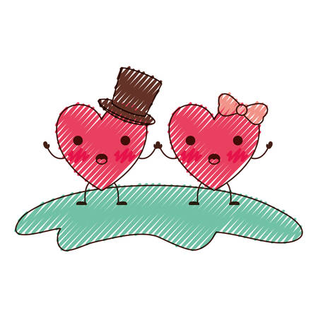 couple heart character holding hands and him with top hat and her with topknot in surprised expression in colored crayon silhouette vector illustration