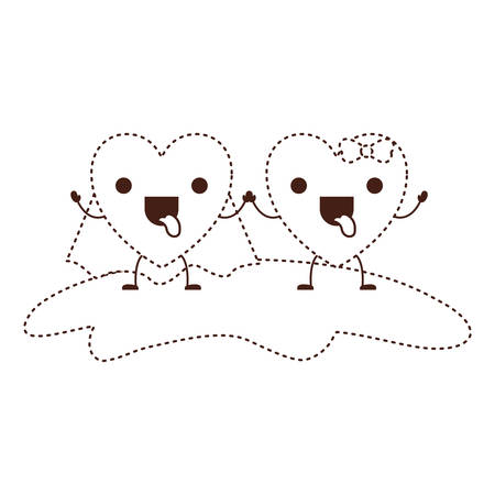 couple heart character holding hands and him with coat and her with topknot in funny expression in brown dotted contour vector illustration