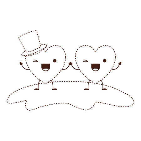 couple heart character holding hands and him with top hat in wink expression in brown dotted contour vector illustration
