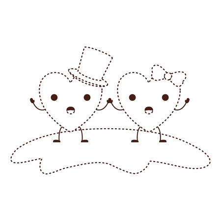 couple heart character holding hands and him with top hat and her with topknot in surprised expression in brown dotted contour vector illustration Illustration