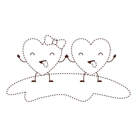 couple heart character kawaii holding hands and closed eyes and her with topknot in funny expression in brown dotted contour vector illustration