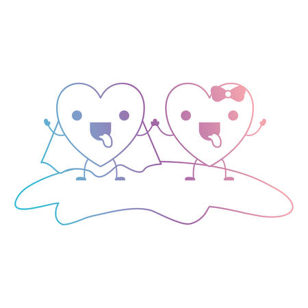 couple heart character holding hands and him with coat and her with topknot in funny expression in degraded blue to purple color contour vector illustration