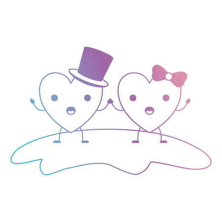 couple heart character kawaii holding hands and him with top hat and her with topknot in surprised expression in degraded blue to purple color contour vector illustration