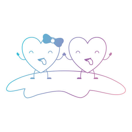 couple heart character kawaii holding hands and closed eyes and her with topknot in funny expression in degraded blue to purple color contour vector illustration Illustration