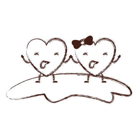 couple heart character holding hands and closed eyes and her with topknot in funny expression in brown blurred contour vector illustration