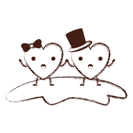 couple heart character holding hands and him with top hat and her with topknot in surprised expression in brown blurred contour vector illustration Illustration