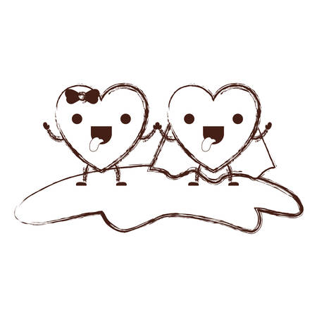 couple heart character holding hands and him with coat and her with topknot in funny expression in brown blurred contour vector illustration
