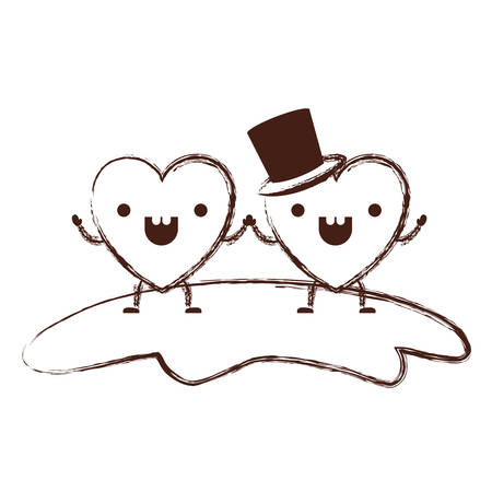 couple heart character holding hands and him with top hat in cheerful expression in brown blurred contour vector illustration