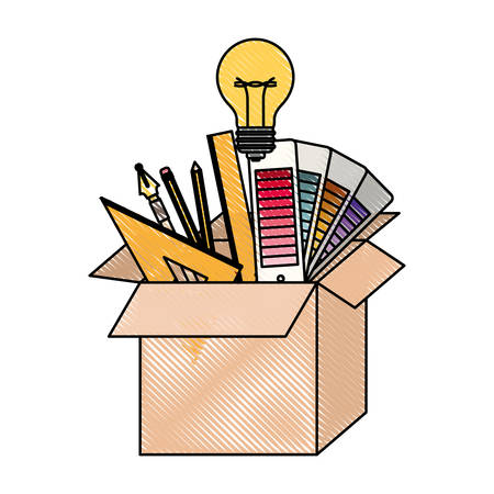 cardboard box with graph design tools creative in colored crayon silhouette vector illustration