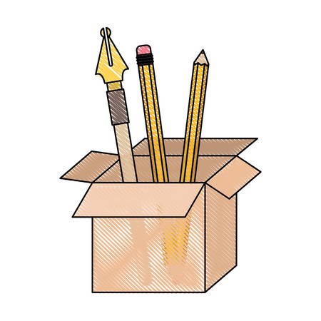 cardboard box with fountain pen and pencils in colored crayon silhouette vector illustration