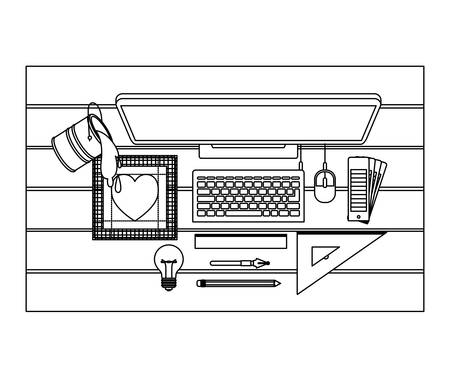 desktop computer and drawing tools over desk on top view in black contour vector illustration Ilustração