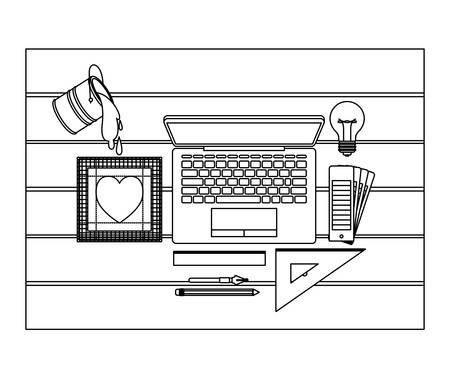 laptop computer and drawing tools over desk on top view in black contour vector illustration Ilustração