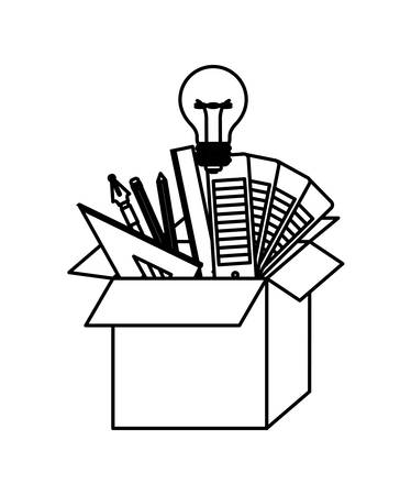 cardboard box with graph design tools creative in black contour vector illustration Illustration