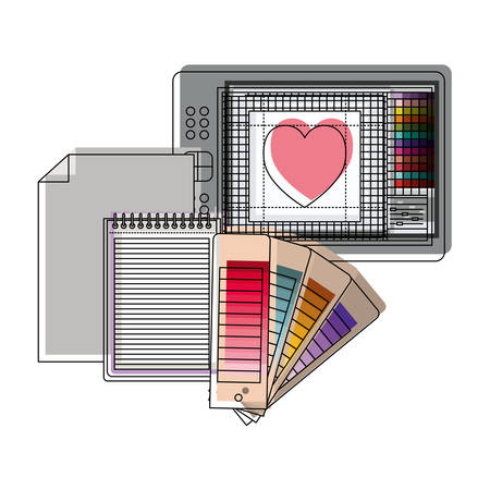 tablet digitizer and palette color guide and notebook in watercolor silhouette vector illustration