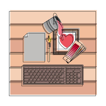 keyboard computer and drawing tools over desk on top view in watercolor silhouette vector illustration Ilustração