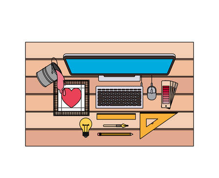 desktop computer and drawing tools over desk on top view in watercolor silhouette vector illustration