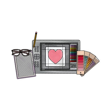 notebook and design tools and tablet in colored crayon silhouette vector illustration Illustration