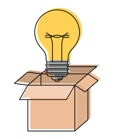 cardboard box and light bulb in watercolor silhouette vector illustration