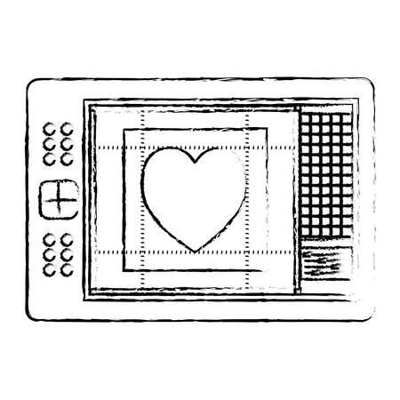 digitizer tablet pen touch tech digital heart design screen vector illustration