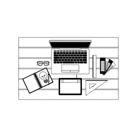 laptop computer draw tool desk ruler tablet digitizer office school vector illustration