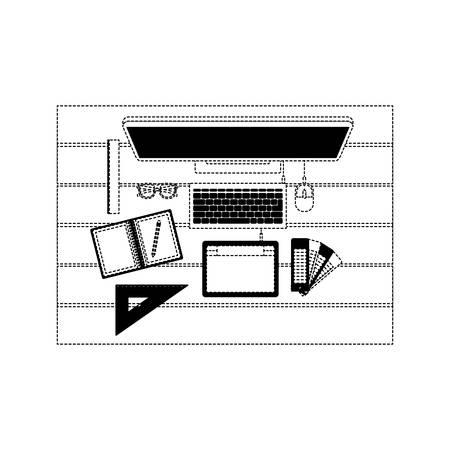 desktop computer draw tool desk ruler tablet digitizer office school vector illustration