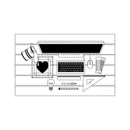 desktop computer draw digitizer heart ruler creative design vector illustration Ilustração