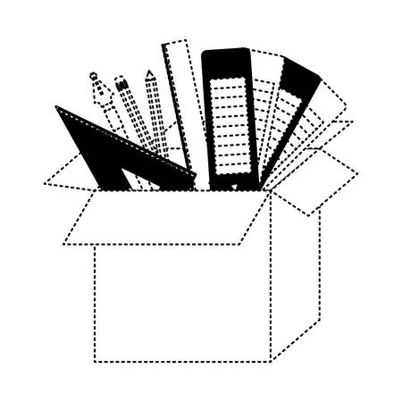 cardboard box graph draw education creative design tools vector illustration