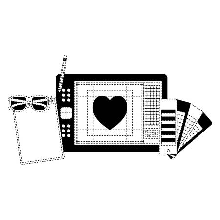 sheet notebook palette heart graph design digitizer heart vector illustration Ilustração