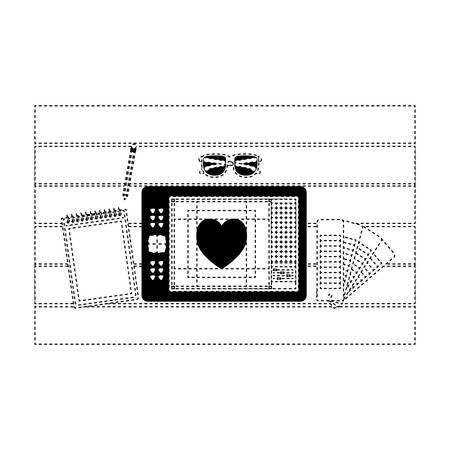 A notebook design tool tablet digitized desk draw heart vector illustration