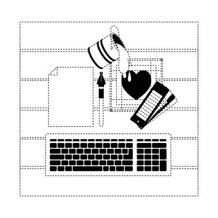 keyboard design graph computer desk palette paint pen draw vector illustration