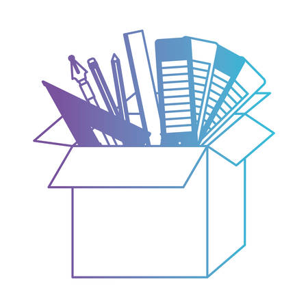 A cardboard box graph draw education creative design tools vector illustration