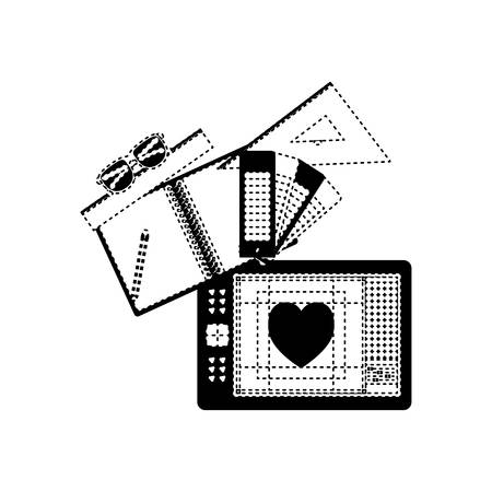 A sheet notebook palette heart graph design digitized heart vector illustration Ilustração