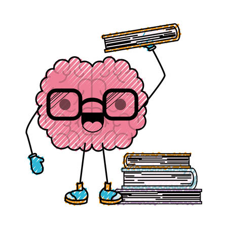 brain character learning book mind intelligence neurology fun cartoon caricature comic graphic vector illustration