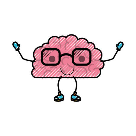 A cartoon brain character with cute expression isolated on white background