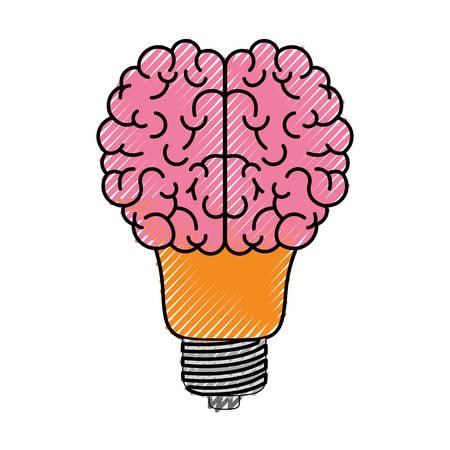 brain science mind intelligence mental design creative think bulb vector illustration