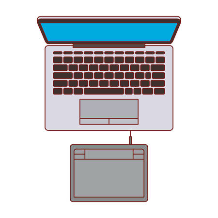 Laptop computer and digitizer tablet connection on top view in colorful silhouette with thin red contour vector illustration. Ilustração