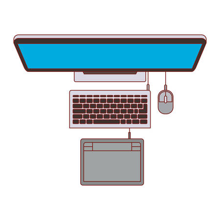 desktop computer and digitizer tablet connection on top view in colorful silhouette with thin red contour vector illustration Ilustração