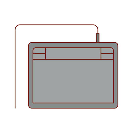 digitizer tablet in colorful silhouette with thin red contour vector illustration Ilustração
