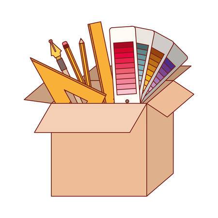 Cardboard box with graph design tools in colorful silhouette with thin red contour vector illustration.