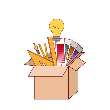 Cardboard box with graph design tools creative in colorful silhouette with thin red contour vector illustration.