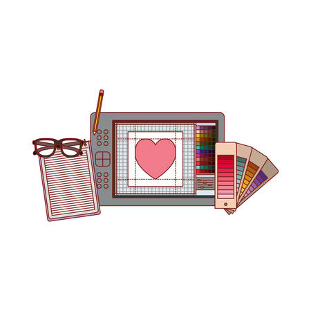 notebook and design tools and tablet digitizer in colorful silhouette with thin red contour vector illustration