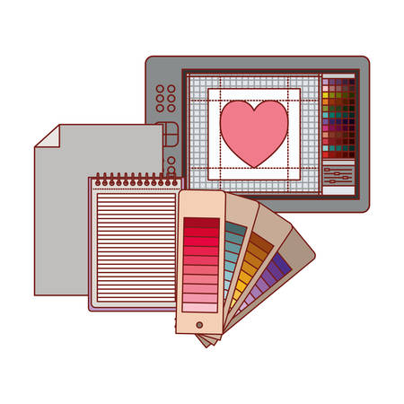 tablet digitize and palette color guide and notebook in colorful silhouette with thin red contour vector illustration