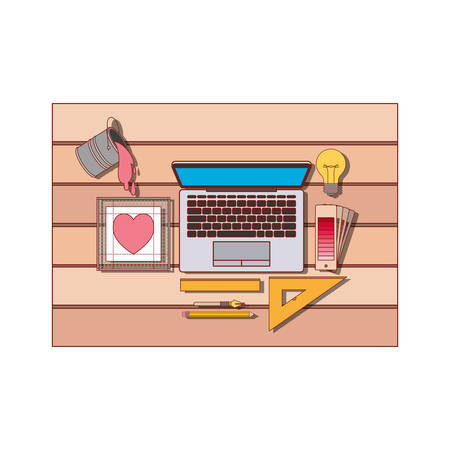 laptop computer and drawing tools over desk on top view in colorful silhouette with thin red contour vector illustration