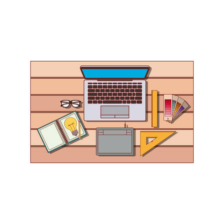 Laptop computer and drawing tools over desk on top view in colorful silhouette with thin red contour vector illustration. Ilustração